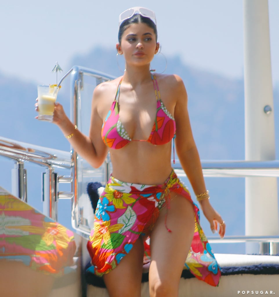 Kylie Jenner Pink Bikini on Her Birthday Yacht in Italy 2019