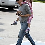 Seraphina held onto Jennifer Garner's back on Sunday.