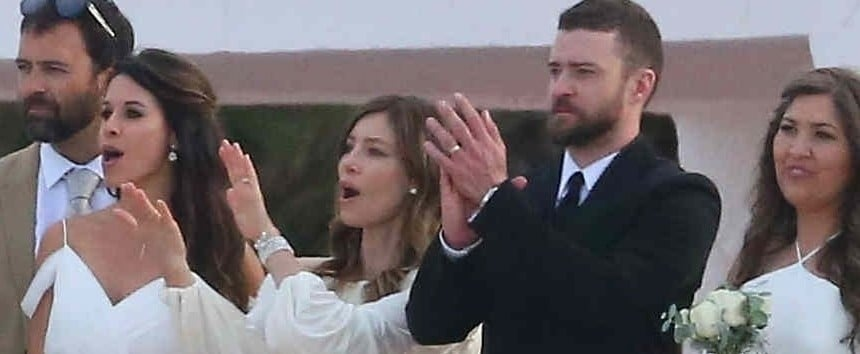 Jessica Biel's White Wedding Guest Dress