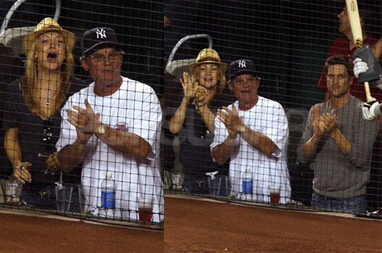 Photos of Kate Hudson, Oliver Hudson, and Kurt Russell at the Yankees Game in Anaheim CA