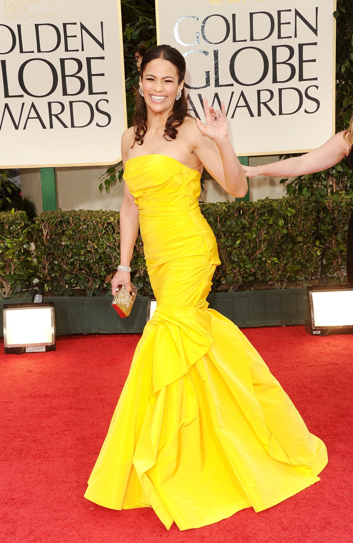 Paula Patton's yellow dress at the Golden Globes.
