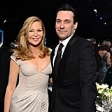 Jon Hamm and his longtime girlfriend, Jennifer Westfeldt, posed during a break from the show.