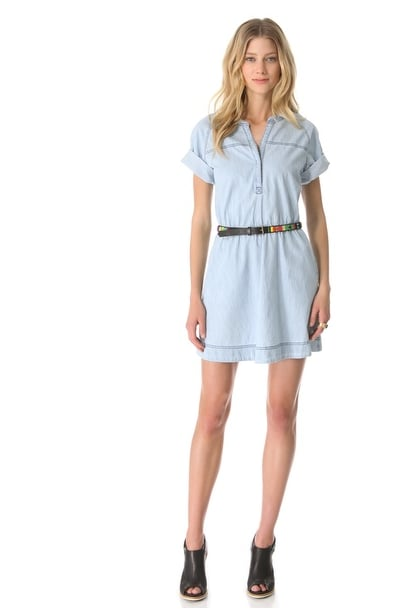 Add flat sandals to this Shine Clapton denim tunic dress ($123, originally $308) now, booties for later.