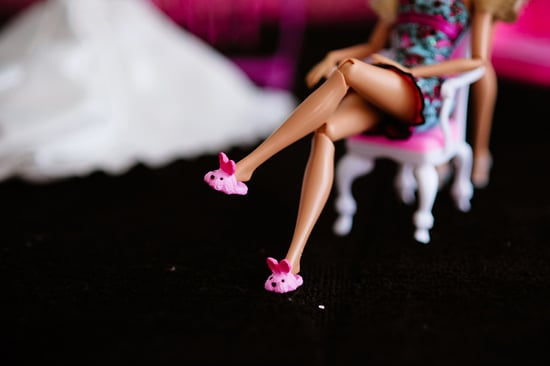 Barbie dons bunny slippers while getting ready. Photo by BdG Photography via Rock n Roll Bride