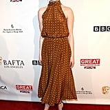 Emma Stone looked radiant in a DVF dress for the BAFTA Tea Party.