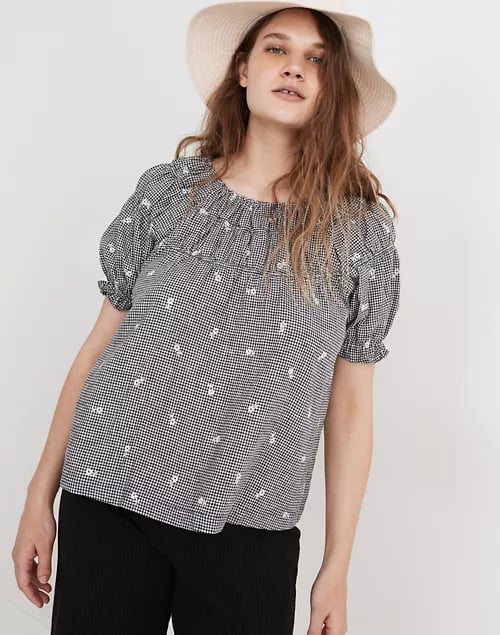 Madewell Embroidered Gingham Shirred Puff-Sleeve Top