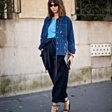 For a polished look, style a denim jacket with tailored trouser jeans and heels.