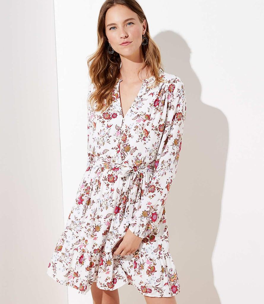 Loft Floral Ruffle Hem Dress