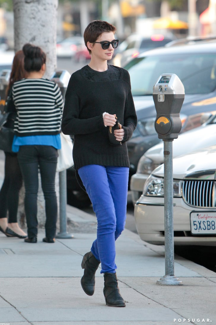 Anne Hathaway wore bright blue pants in Beverly Hills.
