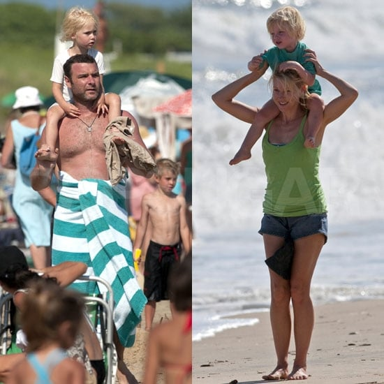 Naomi Watts and Liev Schreiber Pictures at the Beach With Sons