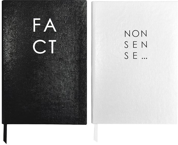 Sloane Stationery Fact & Nonsense Monochrome Journals ($110)