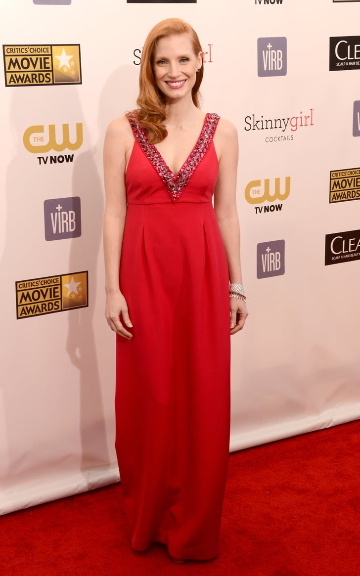 Jessica Chastain wore red Prada for the Critics' Choice Awards.