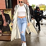 Kendall Jenner Wearing a Crop Top, Choker, and Duster Coat