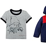 Red Jean ($25), Paddington Graphic Tee ($17), Colorblock Duffel Coat ($40)