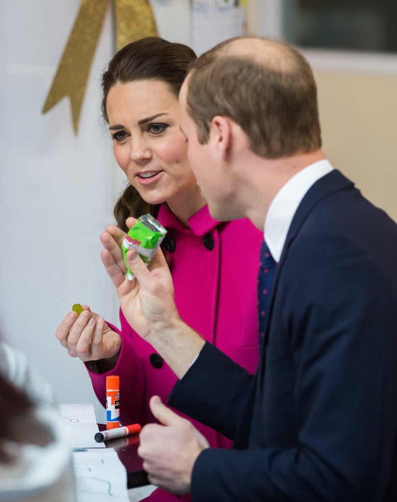 The Duke and Duchess of Cambridge braved terrible weather in NYC on Tuesday when they stepped out to begin the second day of their short trip to the US, eventually fueling up with some fruit snacks before stepping out for a glamorous evening. Kate Middleton and Prince William started off the morning with a visit to the National September 11 Memorial and Museum, where they visited reflecting pools and toured the grounds. They aren't the first royals to visit the former site of Ground Zero, as Queen Elizabeth II paid her respects during an official trip to the US in 2010. Later they traveled to The Door/CityKids, a youth organization that focuses on arts in education to help foster development among at-risk youth, where they laughed and ate some fruit snacks. Afterward, Will made a stop at another Big Apple tourist destination — the Empire State Building — to attend an event to celebrate British artists and entertainers in the US. The event was organized with the UK government's GREAT campaign, which aims to promote the UK's image abroad. At the Empire State Building reception, William handed out the GREAT Tech Awards to this year's winners. But it's not over after that! The pair will end their tour on a glamorous note by attending the University of St Andrews's 600th anniversary dinner at the Metropolitan Museum of Art. (Will and Kate met while studying at St Andrews in Scotland.) The event hopes to raise funds for the university's scholarships and help bankroll a lectureship on American literature.  Earlier in their tour, Will and Kate made headlines when they rubbed shoulders with a few of America's most recognizable faces. The couple met Beyoncé and Jay Z at a Brooklyn Nets game on Monday night, as well as LeBron James, who gifted the couple with Cleveland Cavaliers jerseys. They also got to hang out with Hillary Clinton during a fundraising event at the British Consul General's residence. Earlier in the day, William traveled to Washington DC, where he got a sit-d
