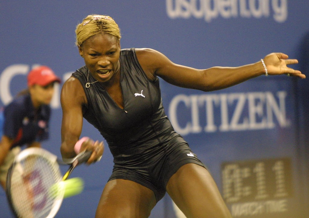 Serena Williams Wearing a Short Black Bodysuit at the US Open in 2002