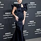 Gigi Hadid Wearing a Zac Posen Dress