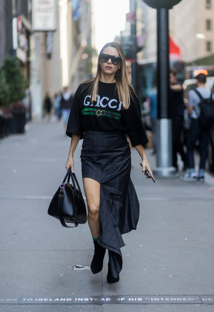 Try an Asymmetrical Midi Skirt That Falls Off to the Side