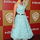 Floral appliqués are such a lovely way to add texture and charm to a garden wedding. For inspiration, check out the soft turquoise Oscar de la Renta dress that Nina Dobrev donned at the InStyle and Warner Bros. Golden Globe afterparty. Her silver add-ons lent just enough shine.