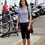 Queen Letizia is a fan of the striped shirt as well. Here she is back in 2010 rocking one with denim capris.