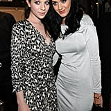 Michelle Trachtenberg posed with Katy Perry during a 2009 event at the Giuseppe Zanotti boutique.