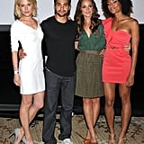 The stars of the Charlie's Angels TV remake, Rachael Taylor, Ramon Rodriguez, Minka Kelly and Annie Ilonzeh, at Comic-Con 2011.