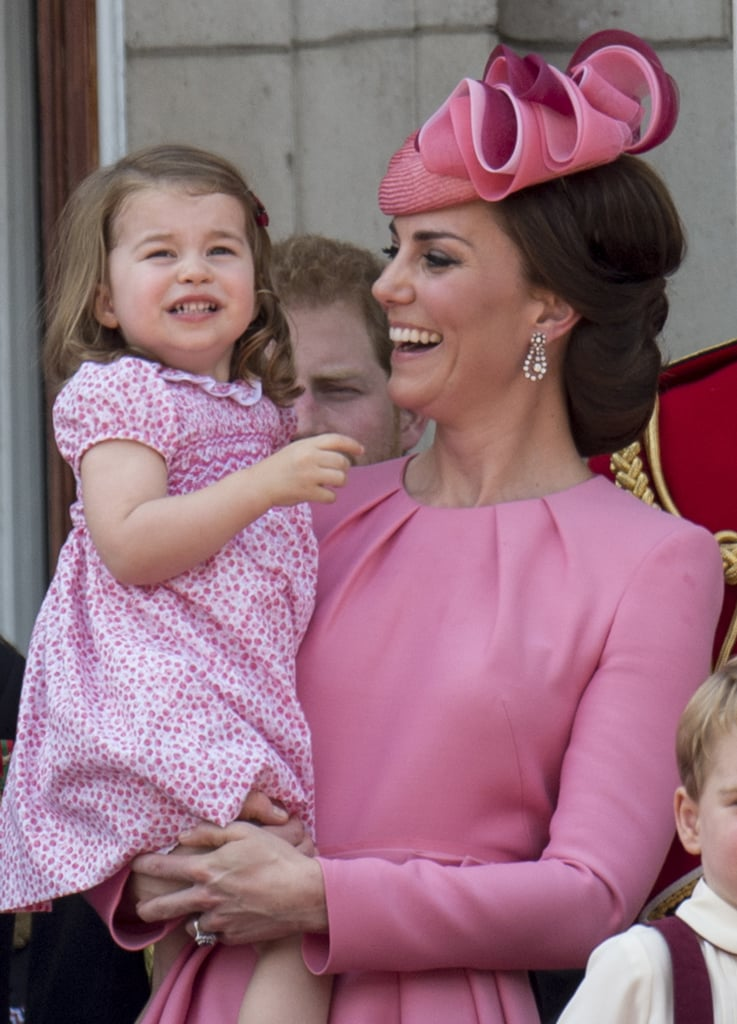 "The royal family stepped out in style for the annual Trooping the Colour ceremony in London on Saturday, and the second we laid eyes on Kate Middleton and Princess Charlotte's matching pink outfits, all we could do was squeal. Perhaps they are big fans of millennial pink, or maybe they just watched Legally Blonde last night, but the mother-daughter duo looked on point. Charlotte, who just turned 2 years old in May, stuck close to her mom as they waved to onlookers, checked out the parade, and watched the jets from the Royal Air Force. At one point, Kate let Charlotte down to watch the event next to her brother, George, and the two were caught looking a little less than enthused on the Buckingham Palace balcony. Kate gave them one of her famous ""get it together"" pep talks, and things rolled right along. Matchy-matchy outfits and threats through gritted teeth: royal moms are just like us.      Related:                                                                                                           81 Princess Charlotte Pictures That Will Royally Melt Your Heart"