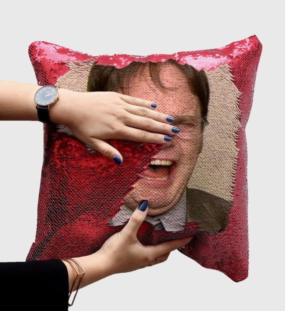 Dwight Schrute Laughing Sequin Pillow in Red
