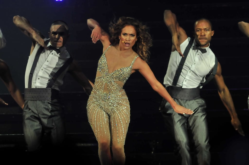 "Jennifer Lopez channeled Britney Spears in a sparkly nude bodysuit while performing in Panama yesterday. She tweeted at her fans after wrapping things up, ""Gracias Panama! Thank you Panama! Great show tonight! Love!"" The show kicked off her Dance Again World Tour, which she's been prepping for over the last few months. J Lo will hit the stage solo in South America until July 14, when she'll join up with Enrique Iglesias to continue appearances in Canada and the US through August. Until then, J Lo has another man nearby, her boyfriend Casper Smart, who is one of the choreographers for the tour."