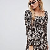 Reclaimed Vintage Inspired Mini Dress with Shoulder Puff in Tiger Print ($76)