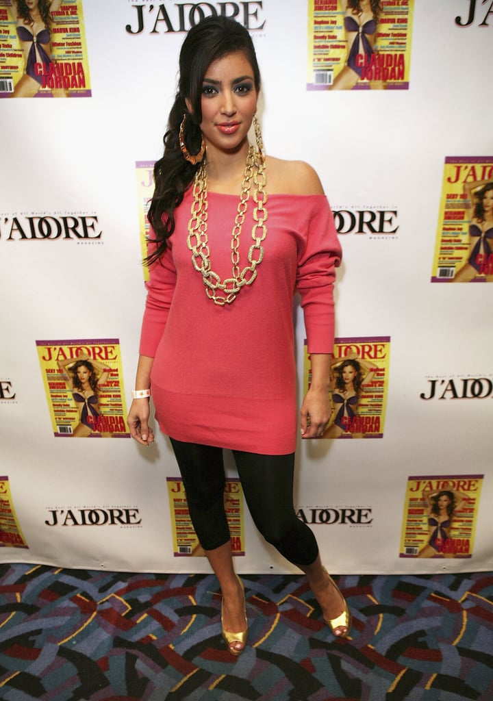 Kim was dressed up in '80s garb for a friend's themed birthday party in LA in April 2007.