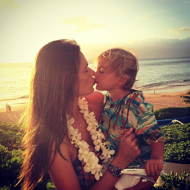 Alessandra kissed her son, Noah Mazur. Source: Instagram user alessandraambrosio