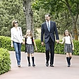 The Spanish royal family walked the grounds of the Zarzuela Palace in May.