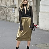 Add a Slinky Blouse and Ankle Boots