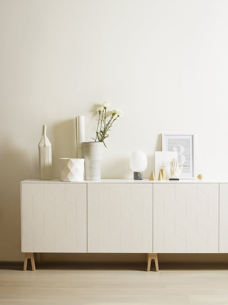"""According to Born, the most popular modifications involve sideboards, kitchens, and wardrobes. """"Most pictures out there on Instagram and blogs are of sideboards, as our customers are creative people who love to make still life on their sideboards. They'll display a scented candle, a finding from the market, their magazines, art,"""" Born says. """"It's amazing to see our design being pictured so beautifully.""""  Pictured: Illusion fronts (not available in US) and Trestle legs ($22)"""