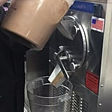 Pouring into the batch freezer