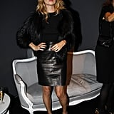 It takes a big brand to get Kate Moss in the front row, but Christian Dior did just that. She wore a leather pencil skirt with a black top and fur jacket.