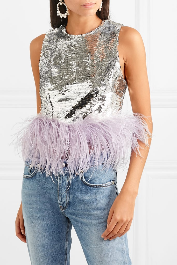 16Arlington Feather-Trimmed Sequined Tulle Top