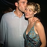 Gwyneth got a sweet kiss on the forehead from her then-boyfriend Ben Affleck at the Armageddon premiere in July 1998.