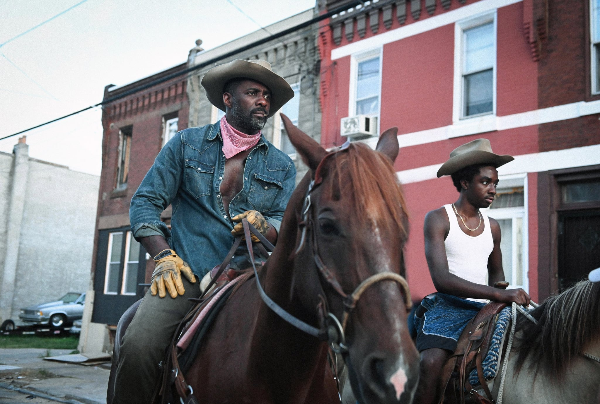 CONCRETE COWBOY, from left: Idris Elba, Caleb McLaughlin, 2020.  ph: Aaron Ricketts / Netflix / Courtesy Everett Collection