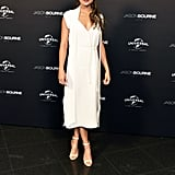 Alicia attended the Jason Bourne premiere in Berlin wearing a silky white dress that draped over her petite frame.