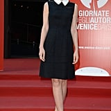 Carey Mulligan was prim and proper in her collared dress and Roger Vivier heels at the Miu Miu Women's Tale premiere in Venice.