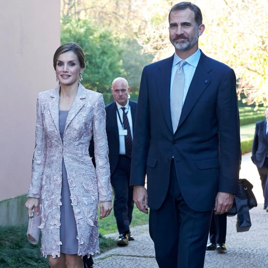 Queen Letizia's Lavender Lace Coat November 2016