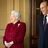 Queen Elizabeth and Prince Philip share a laugh in 2014.