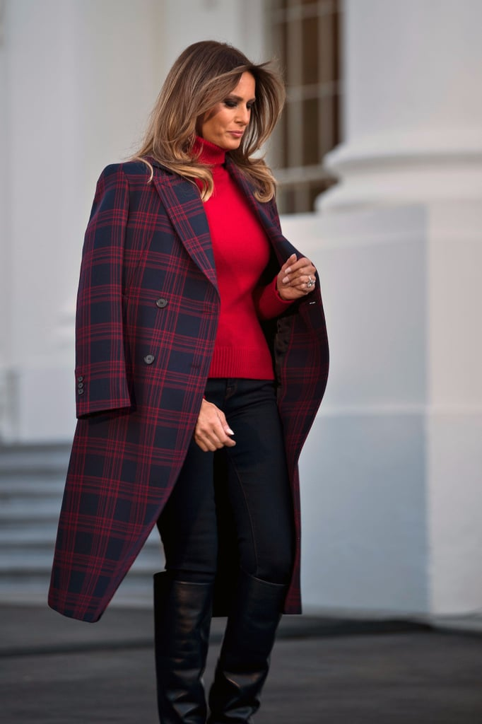 melania s plaid calvin klein coat popsugar fashion