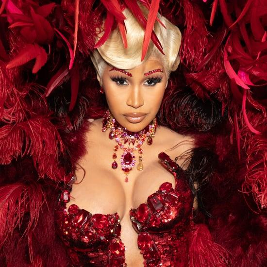 See Cardi B's Red Feathered Dress at Paris Fashion Week 2021