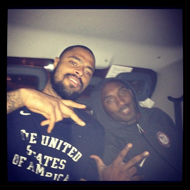 Members of the basketball team barely fit inside some of London's cabs. Source: Instagram user cp3