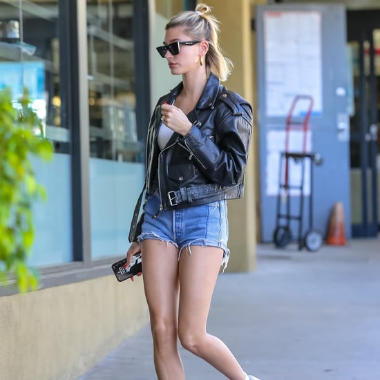 Hailey Bieber's Two-Toned Denim Shorts and Leather Jacket