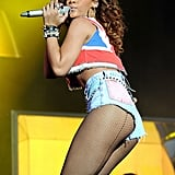 Rihanna wore short shorts performing at the V Festival.