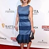 Christina Ricci wore a striped flared sheath and Giuseppe Zanoti heels to the BAFTAs.